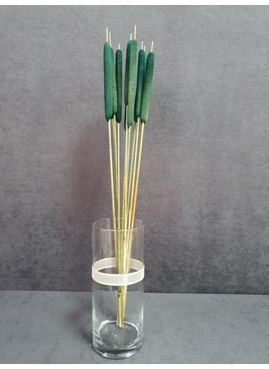 Kuru Çiçek Deposu Kuru Çiçek Kadife Dokulu Sosis Püskül 10 Adet 90 Cm Bordo  Yeşil
